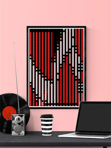 Code 2 Glitch Art Print on a wall