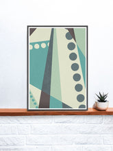 Load image into Gallery viewer, Cold Green Geometric Abstract Style Print on a shelf
