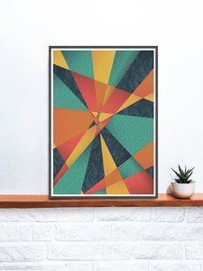 Colour Web Geometric Art Print on a shelf