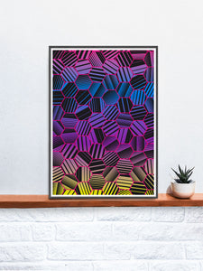 Comb Pattern Art Print on a shelf
