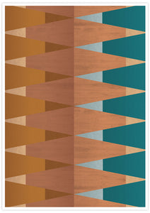 Copper Tops geometric wall art in a frame