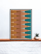 Load image into Gallery viewer, Copper Tops geometric wall art on a shelf