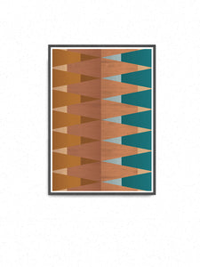 Copper Tops geometric wall art on a wall