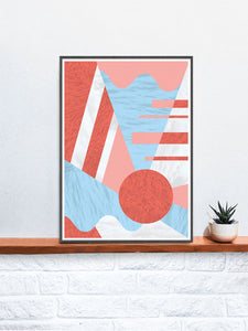 Coral Reef Geometric Print on a Shelf