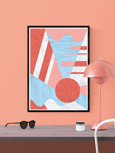 Coral Reef Geometric Print in a frame on a wall