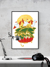 Load image into Gallery viewer, Crane Bird Art Print on a wall