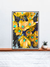 Load image into Gallery viewer, Crocus Yellow Flower Art Print in a frame on a shelf