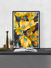 Load image into Gallery viewer, Crocus Yellow Flower Art Print in a frame on a wall