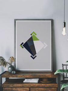 Crosshair Geometric Pattern Print on a shelf
