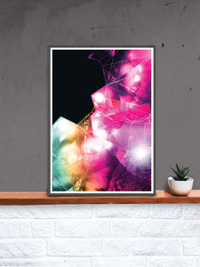 Crystal Art Print Digital Wall Art Illustration in a frame on a shelf