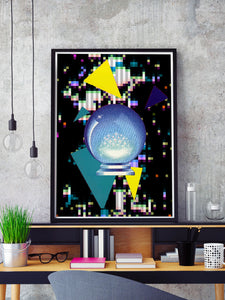 Crystal Squares Abstract Art Print in a frame on a shelf