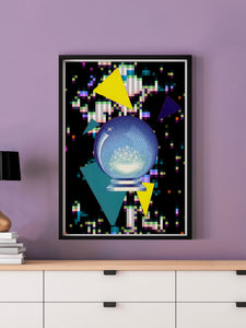 Crystal Squares Abstract Art Print in a frame on a wall