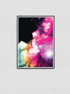 Crystal Art Print Digital Wall Art illustration in a frame on a wall