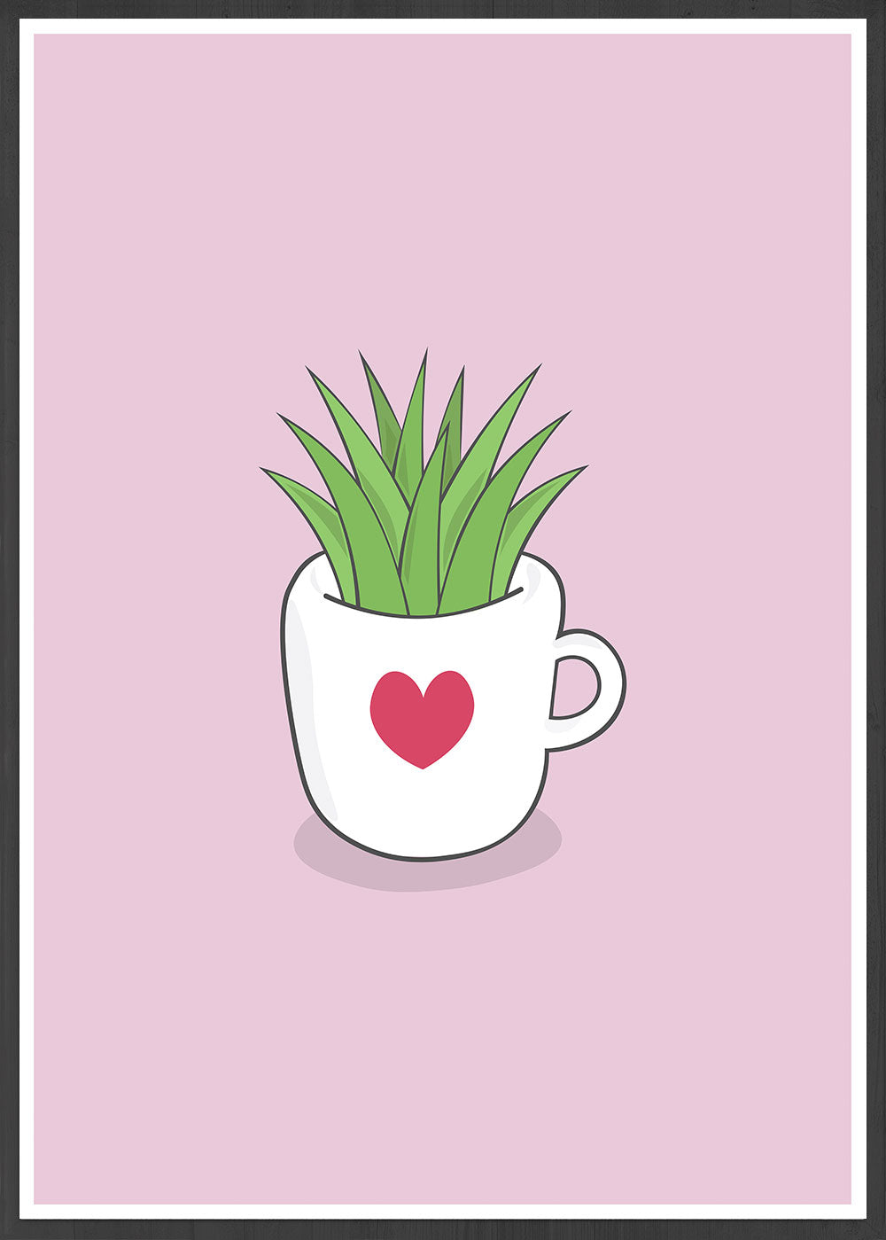 A Cup of Green Succulent Illustration Print in a frame