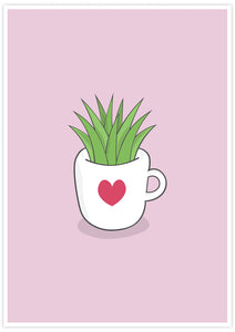 A Cup of Green Succulent Illustration Print not in a frame