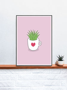 A Cup of Green Succulent Illustration Print on a Shelf