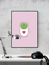 Load image into Gallery viewer, A Cup of Green Succulent Illustration Print in a frame on a wall