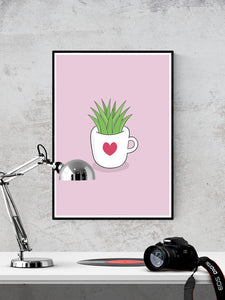 A Cup of Green Succulent Illustration Print in a frame on a wall