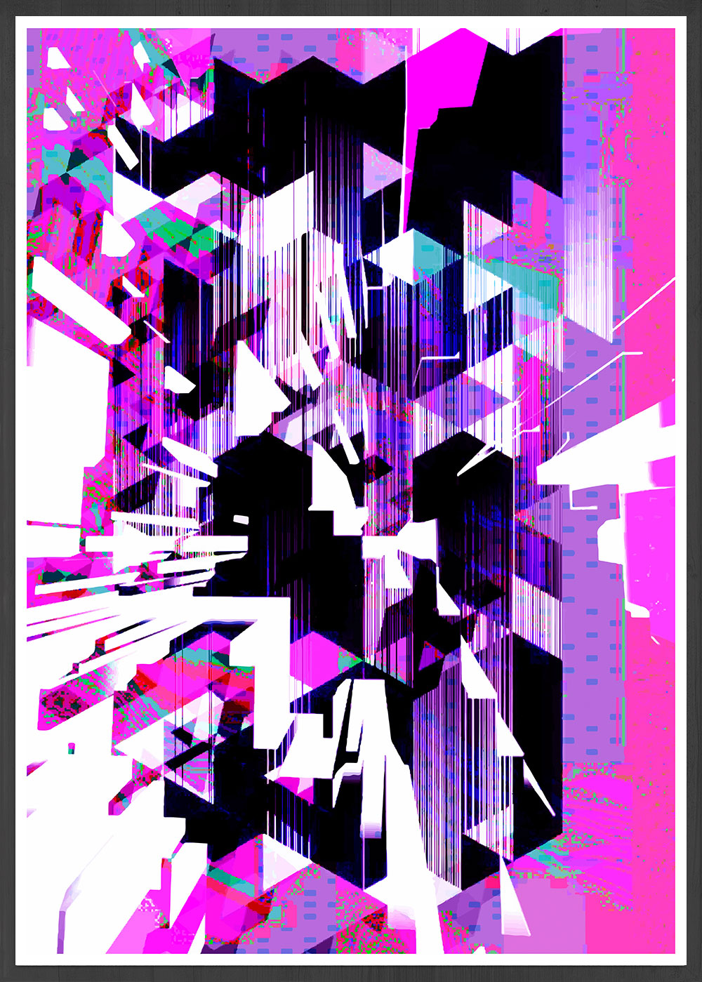 Cyber Punk Glitch Art in a frame