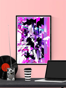 Cyber Punk Glitch Art Print