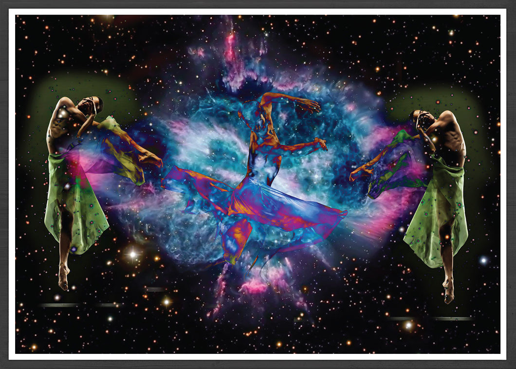 Dancing in Space Art Print in a frame