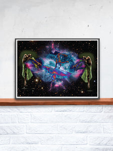 Dancing in Space Art Print on a Shelf