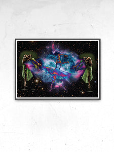 Dancing in Space Art Print in a frame on a wall