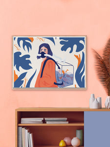 Dans Mon Espirit Tout Divague Art Print in Contemporary Room
