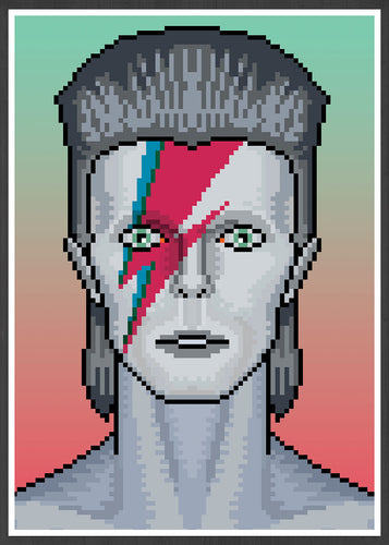 Ziggy illustration Bowie Art Print in frame