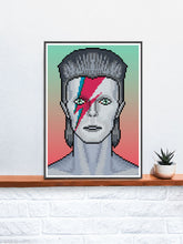 Load image into Gallery viewer, Ziggy Illustration Bowie Art Print in a frame on a shelf