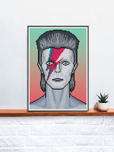 Ziggy Illustration Bowie Art Print in a frame on a shelf
