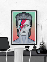 Load image into Gallery viewer, Ziggy illustration Bowie Art Print in a frame on a wall