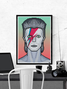 Ziggy illustration Bowie Art Print in a frame on a wall