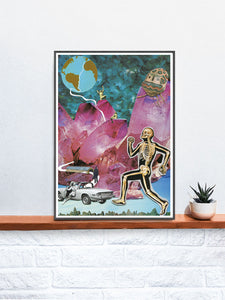 Death Valley '73 Collage Art Print in a frame on a shelf