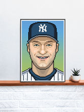 Load image into Gallery viewer, Derek Illustration Baseball Art Print in a frame on a shelf