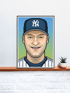 Derek Illustration Baseball Art Print in a frame on a shelf