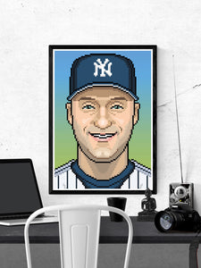 Derek illustration Baseball Art Print in a frame on a wall
