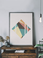 Load image into Gallery viewer, Diamond Neutral Geometric Poster Print on a shelf
