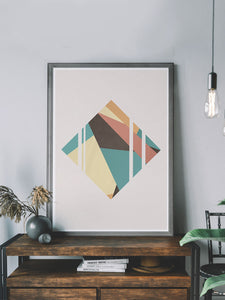 Diamond Neutral Geometric Poster Print on a shelf