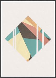 Diamond Neutral Geometric Poster Print in a frame