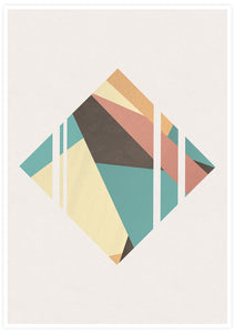 Diamond Neutral Geometric Poster Print no frame
