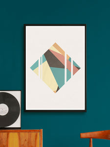 Diamond Neutral Geometric Poster Print on a wall