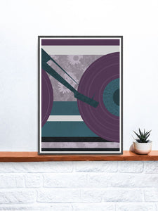 Disc Jockey Music Abstract Print on a shelf