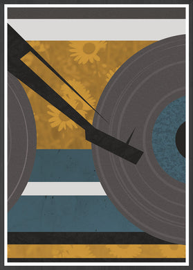 Disc Jockey Yellow Music Abstract Print in a frame