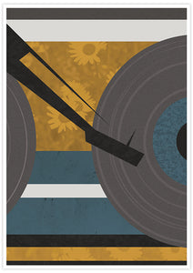 Disc Jockey Yellow Music Abstract Print with no frame