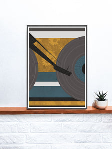 Disc Jockey Yellow Music Abstract Print art on a shelf