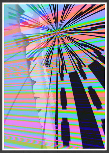 Dont Adjust your TV Glitch Art Print in a frame