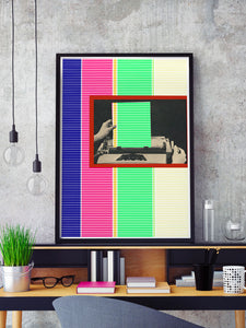 Dotted Line Matrix Retro Art Print in a frame on a shelf