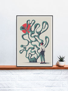 Dr Zewo Contemporary Print in a frame on a shelf