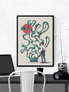 Dr Zewo Contemporary Print in a frame on a wall